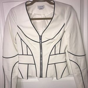 White blank piping short jacket